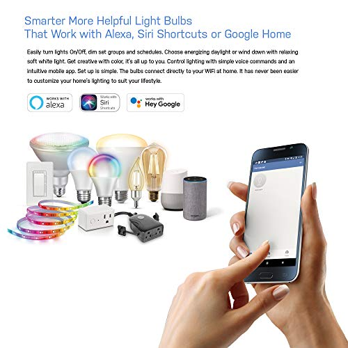 Feit Electric OM60/RGBW/CA/AG WiFi LED Changing and Dimmable, Alexa or Google Assistant, No Hub Required Smart Bulb, 60 Watts, Multi-color Rgbw