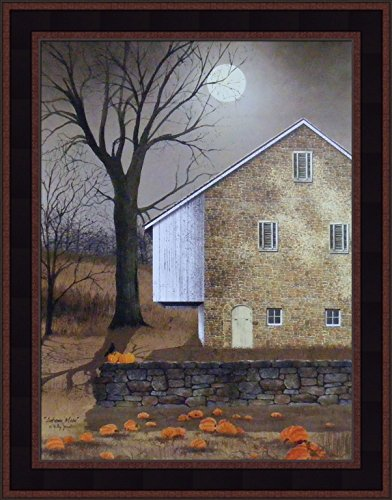 Jacobs 15x19 Full Moon Fall Pumpkins Stone House Country Primitive Folk Art Framed Print Picture ()