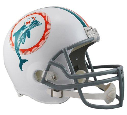 1972 Miami Dolphins Team (Miami Dolphins 1972 Throwback Riddell Full Size Deluxe Replica Football Helmet - New in Riddell Box)