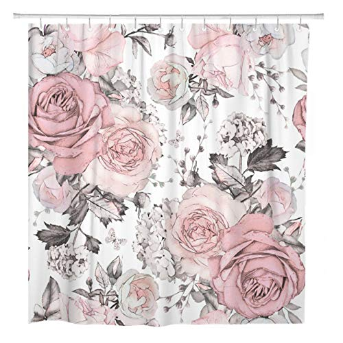 ArtSocket Shower Curtain Pink Flowers and Leaves on Watercolor Floral Pattern Rose Home Bathroom Decor Polyester Fabric Waterproof 72 x 78 Inches Set with Hooks
