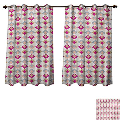 (Retro Blackout Thermal Backed Curtains for Living Room Checkered Pattern Squares in Different Soft Colors with Linked Diamond Shapes Window Curtain Fabric Pink Peach Khaki W55 x L45 inch )