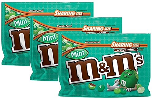 M&M'S Mint Dark Chocolate Candy Sharing Size 9.6oz Bag (Pack of 3) ()