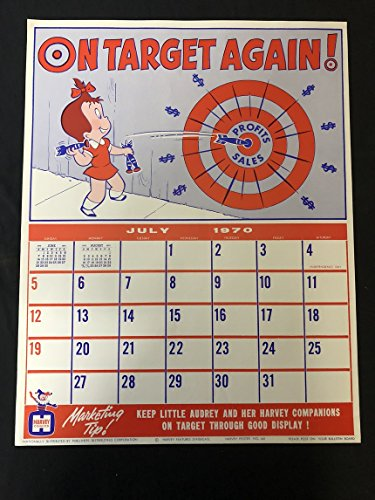 - LITTLE AUDREY Harvey Comics Promo Sales Calendar Poster -July 1970