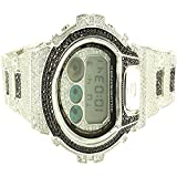 Details about Mens Fully Iced Out Lab Diamond White Gold Finish Authentic Digita GShock Watch