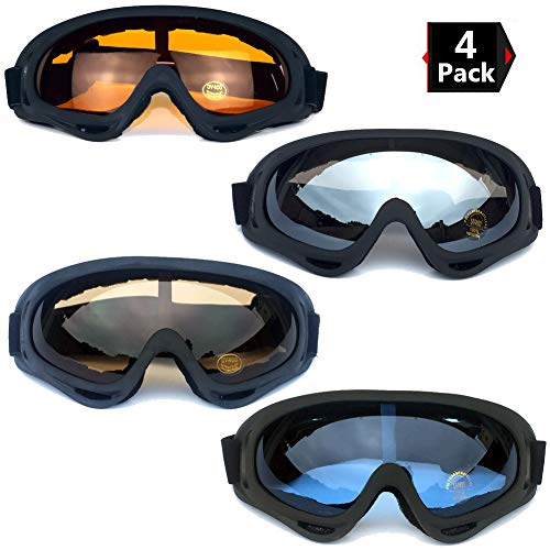 135090736f7c Peicees 4 Pack Ski Goggles Winter Snowboard Adjustable UV 400 Protective  Motorcycle Snow Goggles Outdoor Sports Tactical Glasses Dustproof Military  ...