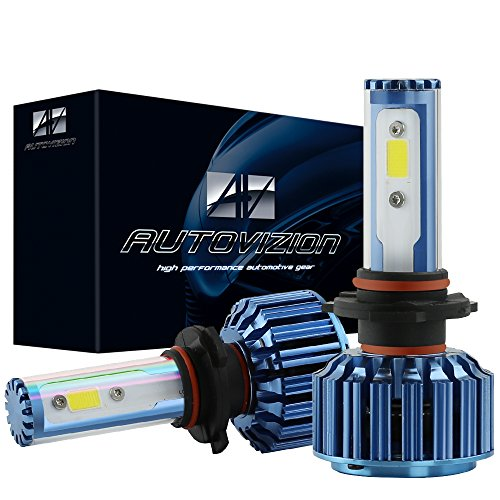 AUTOVIZION 9005(HB3/9145/9055) LED Headlight Bulb for any 9005 Halogen Headlight Bulb upgrade to LED (1 pair, Ocean Blue)