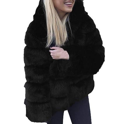 FuweiEncore Escudo de Las señoras Outwear Chaqueta Parka Moda para Mujer Abrigos de visón Invierno con
