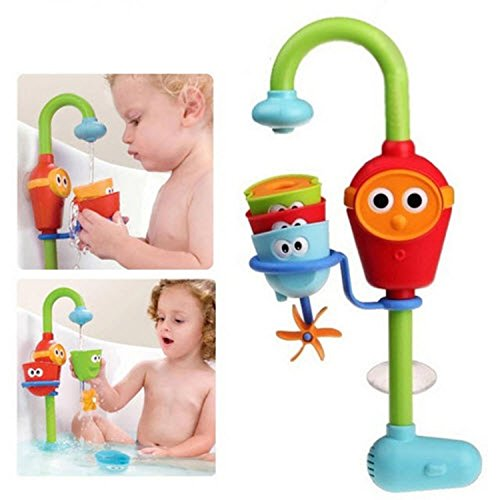 Multicolor Fun Baby Bath Toys Spray Showers Toy Faucet Play With Water Easy For Kids To Turn On And Off By Themselves- Just Press The Face.