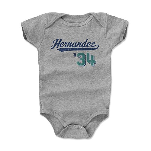 500 LEVEL Felix Hernandez Baby Clothes, Onesie, Creeper, Bodysuit 3-6 Months Heather Gray - Seattle Baseball Baby Clothes - Felix Hernandez Script B