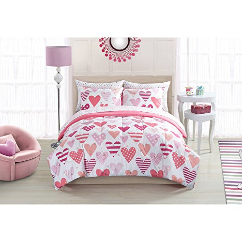 Mainstays Kids Luxury Beautiful Sweet Hearts Reversible Pink with White Polka Dots Bedding Twin Comforter Set for Girls (5 Piece in a Bag) (Pink Hearts 5 Piece)