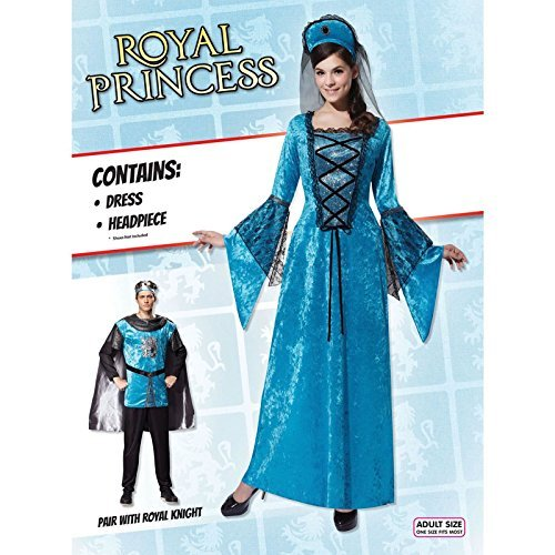 [Womens Medieval Tudor Blue Gown Thrones Fairy Princess Fancy Dress Costume UK 10-14 by Bristol] (Fairy Costumes Uk)