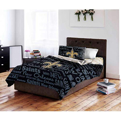 - 5 Piece NFL New Orleans Saints Comforter Set FULL SIZED, Sports Patterned Bedding, Featuring Team Logo, Fan Merchandise, Team Spirit, Football Themed, National Football League, Black, Grey, Unisex