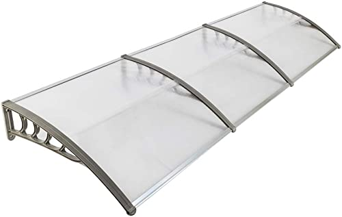 Simply-Me 40 x 120 Door Window Awning Polycarbonate Cover Front Door Outdoor Patio Awning Canopy UV Rain Snow Protection Hollow Sheet Transparent Gray