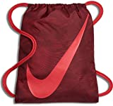 NIKE Young Athlete Drawstring Gymsack Backpack Sport Bookbag (Team Red/Fusion/Crimson Swirl Graphics with Large Signature Swoosh)