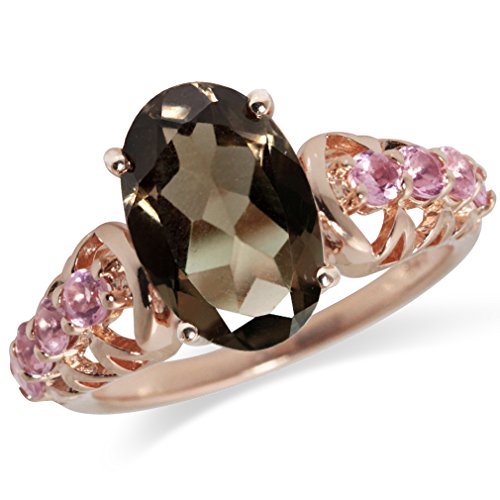2.72ct. Natural Smoky Quartz & Tourmaline Rose Gold Plated 925 Sterling Silver Cocktail Ring Size - Tourmaline Ring Smoky