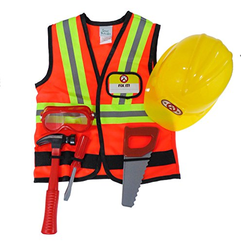 Creative Education Great Pretenders Construction Worker Set with Accessories in Garment Bag. Includes Work Vest, Hard Hat, Mask, Hammer, Saw & Screwdriver, Size 5-6 Costume