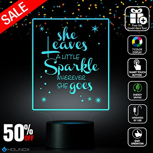 She Leaves a Littles Sparkle Wherever She Goes, Kate Spade quote, Fashion Designp, Decoration lamp, 7 Color Mode, Awesome gifts (MT219)