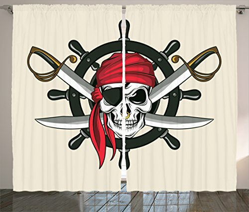 Ambesonne Skulls Decorations Collection, Pirate Skull with Scarf Crossed Swords Violence Sea Sailing Risky Adventurous Image, Living Room Bedroom Curtain 2 Panels Set, 108 X 84 Inches, Dimgrey Red - Color Story Kitchen Island