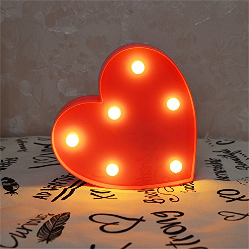 Pooqla Marquee Light up Red Heart Sign with 6 Warm White Bul