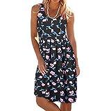 TnaIolral 2019 Women Summer Vest Printing Sleeveless Evening Party Dress Beach Dress Black