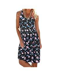 BOLUOYI 2019 Floral Dress For Women Beach Wear,Floral Swing Midi Dress,Midi Dresses For Women For Summer Women Summer Printing Sleeveless Evening Party Dress Beach Vest Dress S