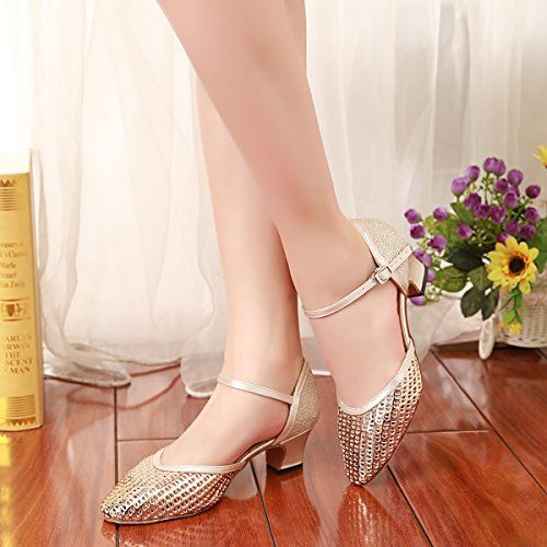 Dancing Synthetic Champagne 4 Latin Pumps GL260 Pointed Shoes Toe UK Ballroom MINITOO Women's Evening nTqCw446