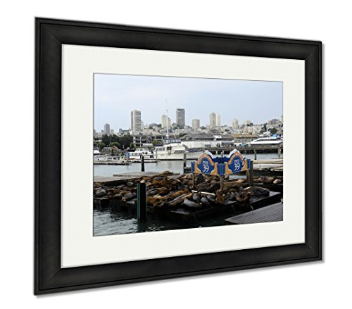 Ashley Framed Prints San Francisco Pier 39 View Of Buildings And Sea Lions USA, Wall Art Home Decoration, Color, 26x30 (frame size), Black Frame, - Francisco Shops 39 Pier San