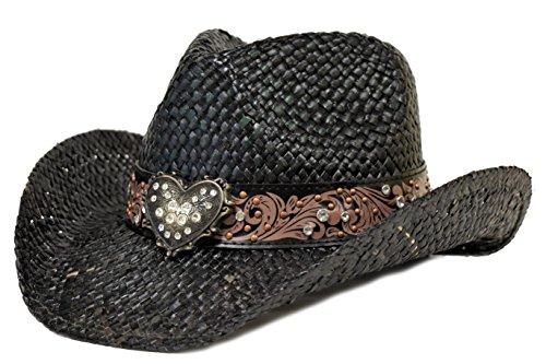 Bling Western Hat Heart & Rhinestones/Black
