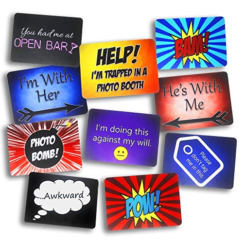 Fun Solid Plastic Photo Booth Props Signs-Propsicles! Party Pack -5 PC set of double sided photo booth prop signs for 10 Fun Phrases - Brings More Fun to a Wedding, a Luau, a Graduation, or any Party!