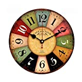 Bairuiou Wooden Silent Wall Clocks 12 Inch Round Shaped Vintage France Paris Colorful Tuscan Style