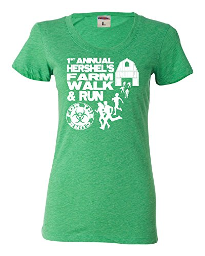Large Green Womens First Annual Hershel's Farm Walk & Run For The Cure Zombie Apocolypse Tri-Blend Short Sleeved (Zombie Women)