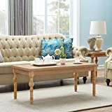 O&K Furniture Farmhouse Coffee Table with Solid Wood Turned Legs, Rectangular Cocktail Table for Living Room, Natural,1-Pcs