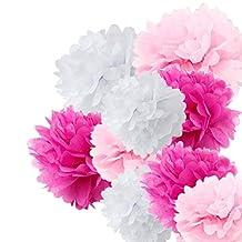 Fonder Mols 9pcs 8'' 10'' 14'' Tissue Paper Pom Poms Flower Wedding Party Baby Girl Room Nursery Decoration, Craft Pom Poms - White, Pink & Cherry