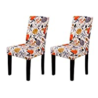 YEESSION Spandex Fabric Stretch Removable Washable Short Dining Chair Protector Cover Slipcover with Printed Pattern