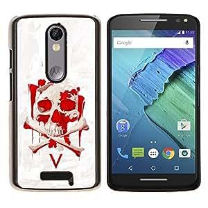 EJOOY---Cubierta de la caja de protección para la piel dura ** Motorola Moto X3 3rd Generation ** --Vendetta Red Skull V