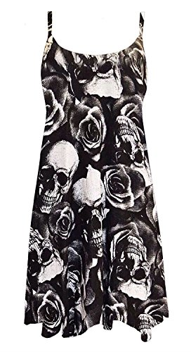 Chocolate Pickle ® Womens Cami Strappy Plain Tops Long Swing Dress ( Skull Roses, 1X )