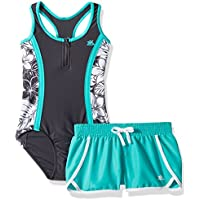 ZeroXposur Girls' One Piece Swimsuit with Board Short