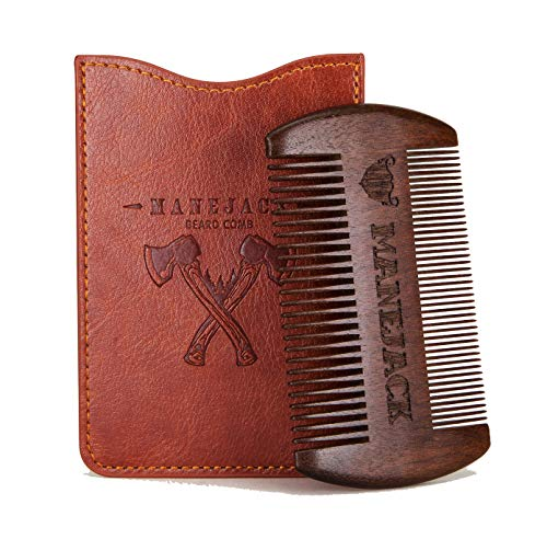 Wooden Beard Comb with PU Leather Case – Top Pocket Combs Kit for Men – Perfect for Beard, Head hair, Mustache-Dry Use with Balms and Oils – Fine and Coarse Teeth