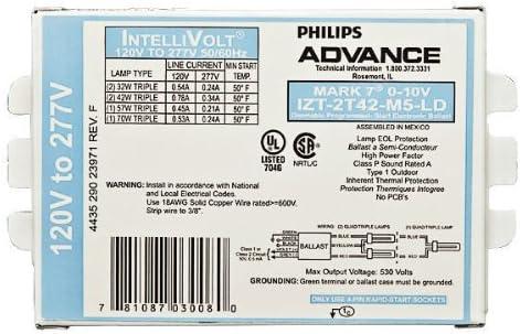 2-LAMP 42W 120//277V MARK-7 ADVANCE IZT-2T42-M5-LD FLUORESCENT BALLAST CFL