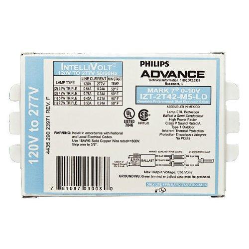 Advance Mark 7 0-10V IZT-2T42-M5-LD-35M - 2 Lamp - 42 Watt CFL - 120/277 Volt - Programmed Start - Dimming - 1.0 Ballast Factor