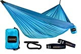 "Hammock: The extra-large double hammock (9 Ft. Long X 6 Ft. wide) has ample room for two people     Straps: This is a ""No Rope"" hammock, we don't even use ropes to attach the hammock to the carabineers. The 15 loop straps allow a lot of flexi..."