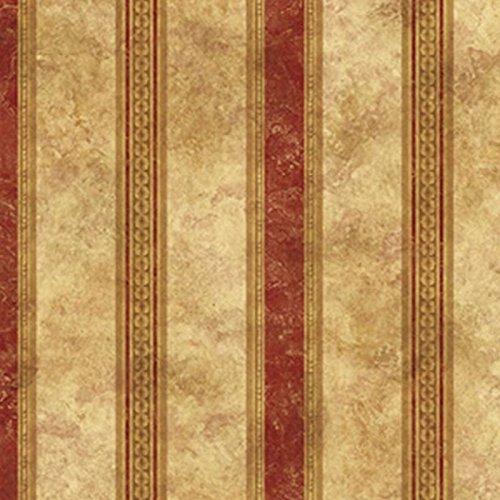Dollhouse Wallpaper Medallion Burgundy Stripe NO BORDER