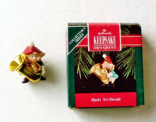 Sousaphone Christmas Ornament Hallmark 1992 HARK! IT'S HERALD Final Elf Tuba Musical -