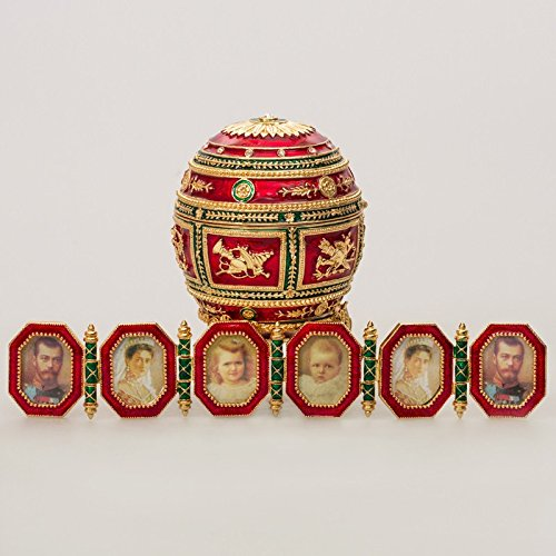 (Swarovski Crystals Napoleonic Red Gold Plated Faberge Style Egg Box Figurine Limited Edition Collectible Faberge Reproduction)