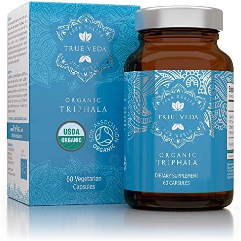 Organic Triphala Veggie Capsules USDA Organic Certified 100 Natural Herbal Supplement Supports Healthy Digestion Natural Antioxidant Ayurveda 60 Easy Swallow Vegetarian Pill