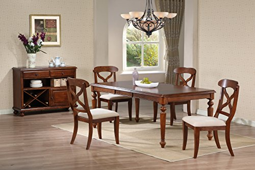 Sunset Trading DLU-ADW4276-C12-SRCT6PC 6 Piece Andrews Butterfly Leaf Dining Table Set with Server, Distressed Chestnut Finish