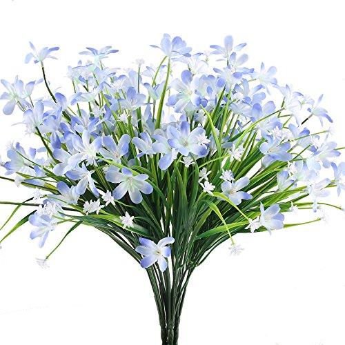 HUAESIN Daisy Silk Flowers 4pcs Blue Artificial Flowers Arrangements Long Stem Plastic Fake Flowers for Centerpieces Pot Vase Home Bedroom Wedding DIY Bouquet (Blue Stem)