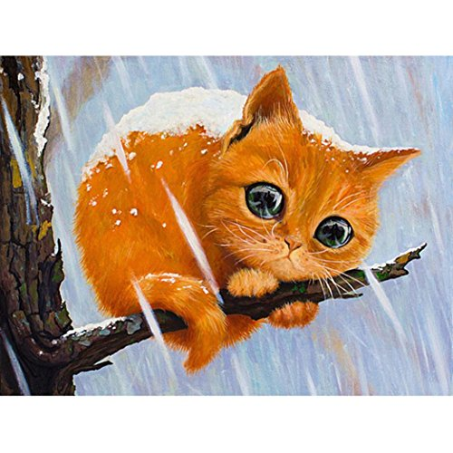 5D Diamond Painting Full Drill Cat Tiger Tree Cross Stitch Abstract Wall Art Special Crafts Dye Tie Kit for Adults Home Room Wall Decoration Pictures 8×10 inch (B, 25x20cm) ()