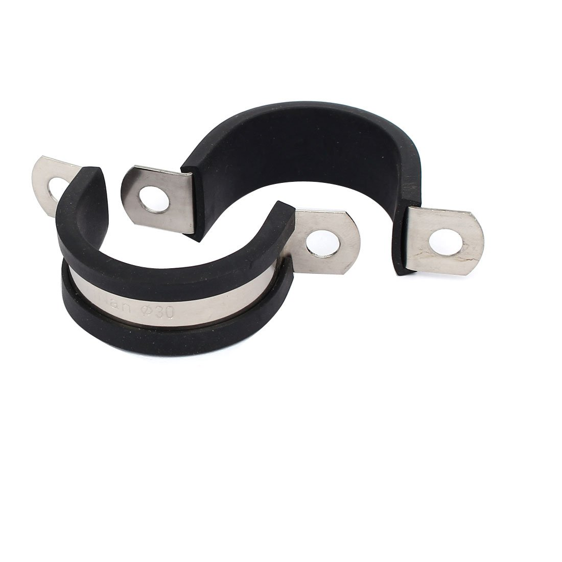 sourcingmap® 30mm Dia EPDM Rubber Lined U Shaped Pipe Tube Wire Clamps Clips 2pcs a17011900ux0619