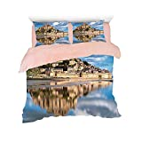 Flannel 4 pieces on the bed Duvet Cover Set 3D printed for bed width 4ft Pattern Customized bedding for girls and young children,Medieval Decor,French Castle on the Sea Fairy Photo of Renaissance Hist